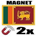 SAFIRMES 2 x SRI Lanka Drapeau Magnet 6x3 cm Aimant déco SRI Lanka magnétique frigo