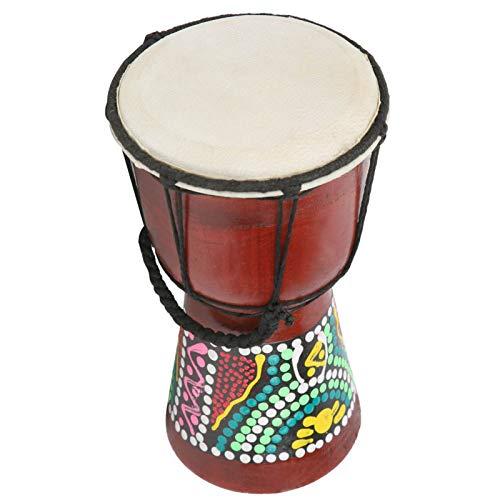 Instrumento de percusión de tambor hecho a mano, tambor Djembe, tambor de práctica de madera portátil de 4 pulgadas para adultos Regalos de Navidad/cumpleaños Niños