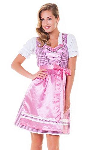 Alpensprookjes, 3-delig. Dirndl-set - klederdrachtjurk, blouse, schort, maat 32-60, fuchsia-roze, ALM3012