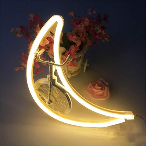 OUSENR Led Créative Lune Nuit Lumière Néon Usb Batterie Lune Nuit Lampe Murale À Led Lampe Murale Led Pour Décoration De Mariage Accueil Chaleureux,Blanc,Fil Usb Powered