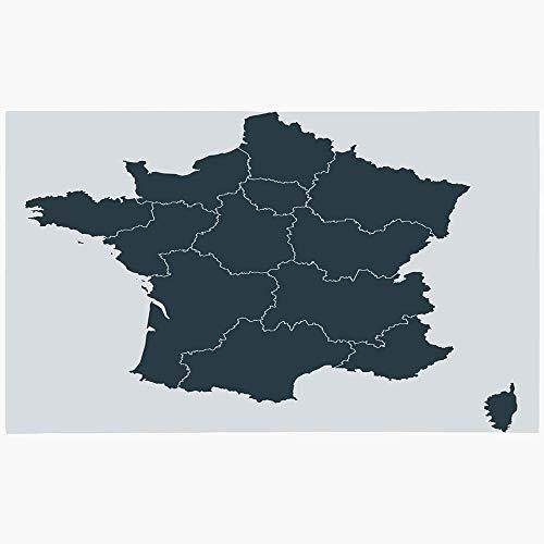 Felpudo Alfombrilla Ciudad Córcega Área de París Mapa detallado de Francia Región Ai Contorno norte en color gris Nación abstracta Lavado a máquina Alfombras antideslizantes Baño Cocina Área de decora