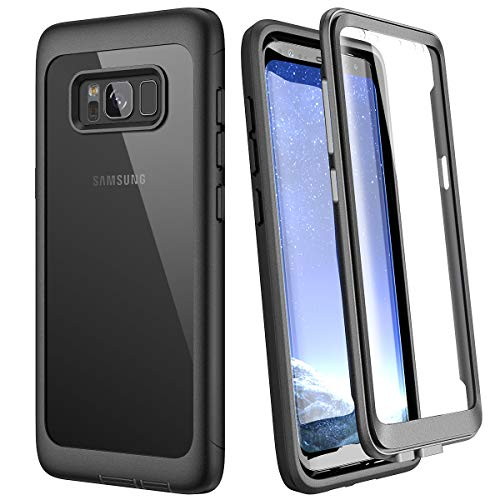 WE LOVE CASE Hülle für Samsung Galaxy S8, Stoßfest Handyhülle 360 Grad Rugged Schutzhülle mit Eingebautem Displayschutz Transparent Cover für Samsung S8, Schwarz