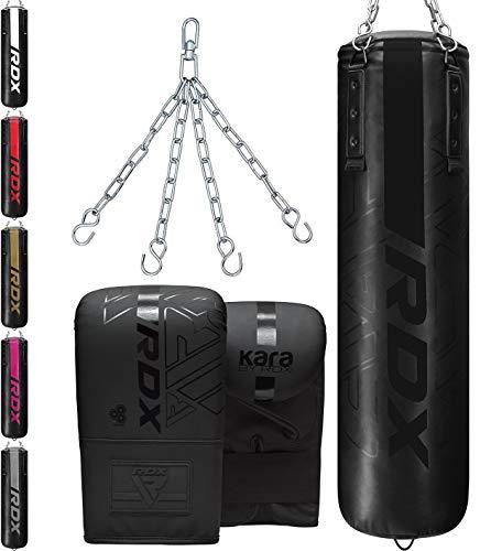 RDX 3PC Saco de Boxeo 4ft 5ft y Guantes para Entrenamiento, Relleno Kara Bolsa de Boxeo con Cadena para Muay Thai, MMA, Sparring, Kick Boxing, Artes Marciales, Punching Bag Set