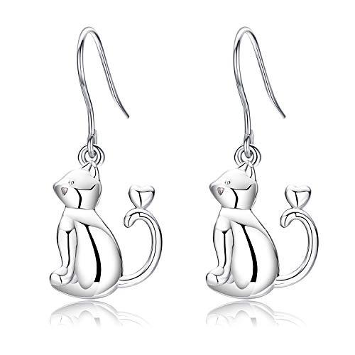 Orecchini a goccia di gatto in argento sterling, orecchini a gancio pendenti con gattino gatto per donne ragazze, regalo di gioielli di gatto orecchino da donna ipoallergenico