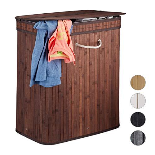 Relaxdays Wäschekorb Bambus, rechteckiger Wäschesortierer, 2 Fächer, mit Klappdeckel, platzsparend faltbar, 95 l, braun