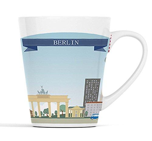 Berlin Duitsland Stad Silhouette  Latte Macchiato beker koffiemok met fotodruk  001