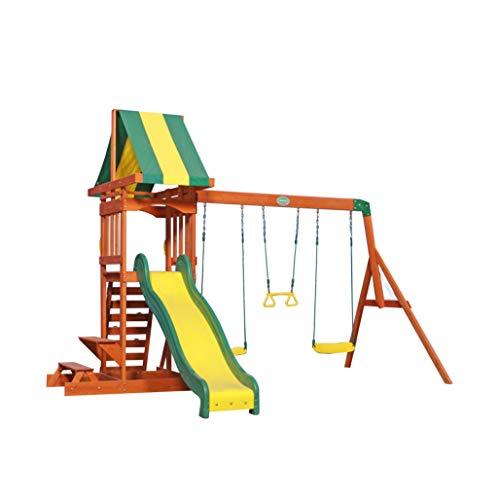 Backyard Discovery Spielturm Holz Sunnydale | Spielplatz für Kinder mit Rutsche, Sandkasten, Schaukel und Picknicktisch | Schaukelset für den Garten
