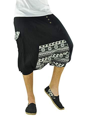 virblatt Pantalones cagados Cortos para Hombres 100% algodón con Patrones étnicos en Talla única con 2 Bolsillos Laterales, S - XL Ropa Hippie - Sorgenfrei