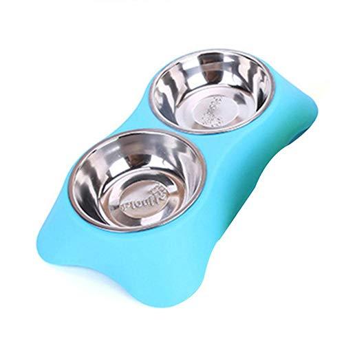 SJYM Cuencos Dobles para Mascotas de Acero Inoxidable para Perros Cachorros Gatos Alimentador de Agua para Alimentos Suministros para Mascotas Platos de alimentación Perros Tazón, Azul, S