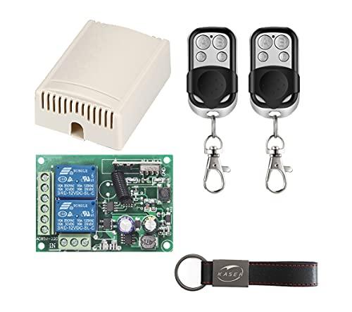 Ricevitore 433 MHz Radio Ricevente Relè 2 CH Universale con Telecomando per Porta Garage Cancello Automatico Luce Tapparella Elettrodomestici Pompa Motore Relay AC 220V (2 Trasmettitore)