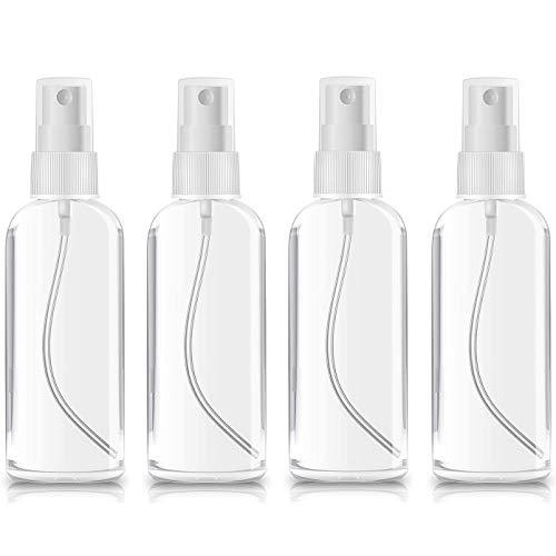 4 PCS *100ml Botes Viaje Transparente Plástico Botella Vacía de Spray, Bote Spray Pulverizador para Vacaciones, Viajes de Negocios, Maquillaje, Limpieza, 4 Piezas (100ML)