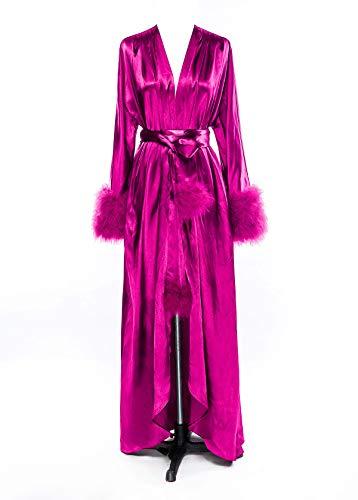 Changuan Women's Pure Long Silky Robes Bridesmaid Bride Party Satin Robes Sleepwear S-3XL Fuchsia S/M
