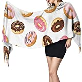 Cachemira de imitación Invierno Bufanda Chal American Traditional Classic Breakfast Comida rápida Postre Tasty Donuts Lámina artística Mantón para Mujeres Cálida Grande Larga