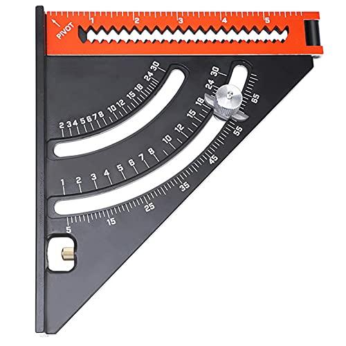 LXB Triángulo Plegable Regla Cuadrada, goniómetro Triángulo Regla Cuadrada con Base, aleación de Aluminio 2-en-1 Diseño Extensible, Herramienta de diseño Extensible de carpintería magnética