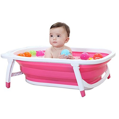 Kairos Baby Folding Bath Tub Collapsible Portable Dog Pet Shower Tub (Light Pink Color)