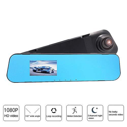 Godagoda 1 stuks autocamera DVR recorder dashcam achteruitkijkspiegel groothoek 3,6 Zoll Zwart (zonder SD-kaart).