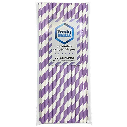 Frosty Mates Decorative Paper Straws 25 Pack, Biodegradable Lavender Drinking Straws, Eco Friendly Quality Design - Regular Size