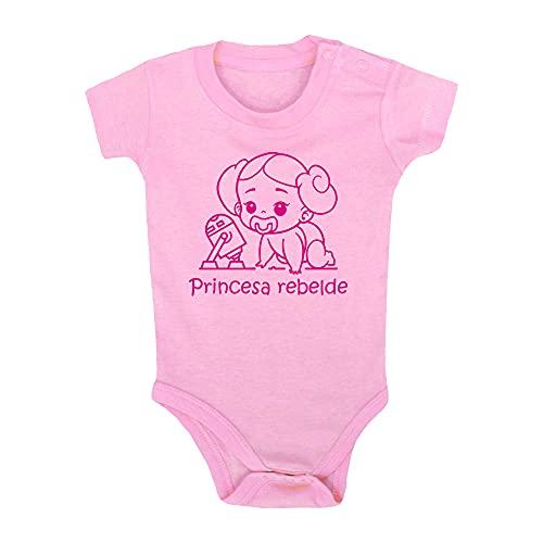 ClickInk Body bebé Princesa Rebelde. Regalo bebé. Regalos para bebés. Regalo divertido. Regalo original. Bebé friki. Regalo friki. Body friki. Body bebé algodón. Manga corta. (Rosa, 6 meses)