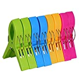 Packung mit 8 großen Leuchtend farbigen Kunststoffklammern für Wäsche Strandtuch Sonnenliege...