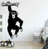 Gran divertido mono árbol de pared calcomanía de pared cuarto de niños dibujos animados selva bosque mono animal rama pegatina de pared dormitorio vinilo decoración 56x34cm
