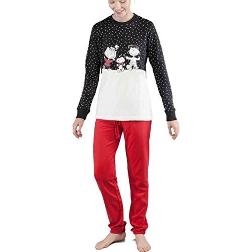 GISELA Pijama de Mujer Snoopy 2/1549 - Negro, XL
