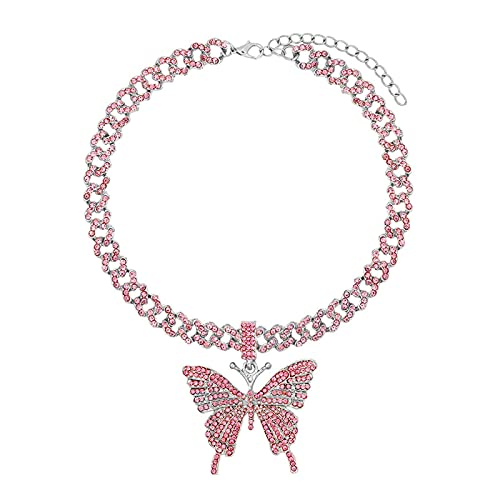 Encantos de mariposa rosa helados, cadena gruesa de eslabones cubanos para mujeres y hombres, gargantilla de eslabones de cristal brillante Punk, joyería de roca