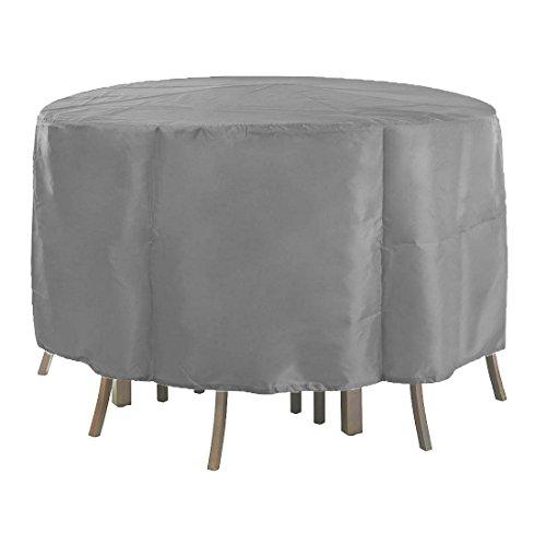 Mitefu Housse de Protection pour Table Ronde, Couverture pour Meuble de Jardin, Patio, Imperméable pour Table,Chaise, Large