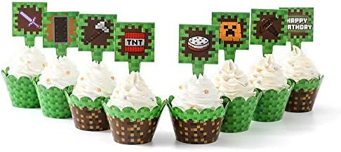 Pixel Cupcake Wrappers and Toppers For Game Party Birthday Party Double Design Printed Party product image