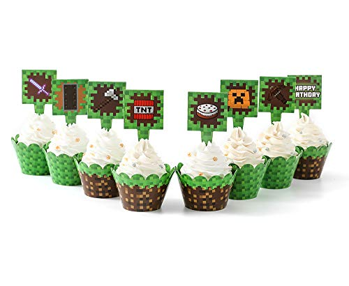 Pixel Cupcake Wrappers and Toppers for Minecraft Birthday Party (24 SET)