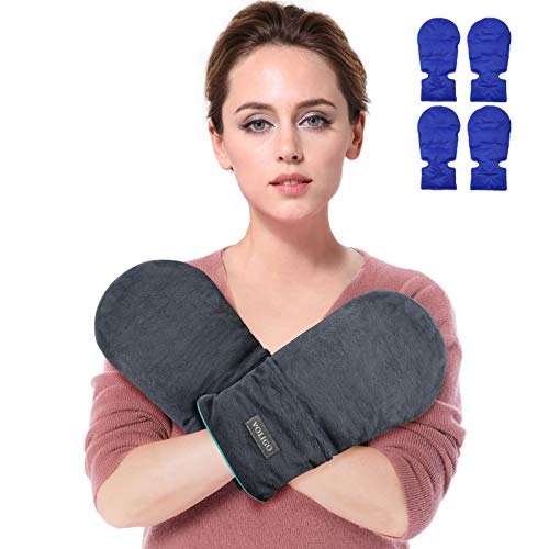Microwavable Heated Mittens, Hot and Cold Hand Therapy Gloves, Heat Arthritis Gloves for Hands Warmer Therapy and Trigger Fingers Pain Relief & Carpal Tunnel Fit for Many Hand Sizes (Gray)