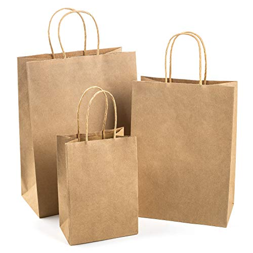 WDC Brown paper bags with handles bulk, 75 craft bags, 25 each (large, medium & small). Plain paper bags great for shopping, gift bag with assorted sizes