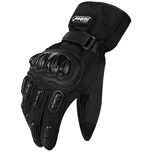 ILM Motorcycle Gloves Winter Windproof Hard Knuckle Protection for Men Women Motorbike Motocross (L, Black)