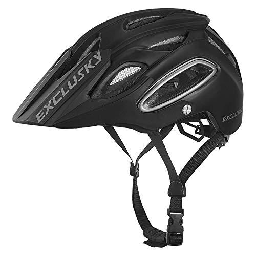 Exclusky Casco de Ciclismo,Unisex Adulto,M(54-58cm) (Negro)