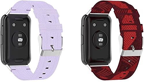Gransho Pulseira de Relógio compatível com Huawei Watch Fit/Huawei Fit, Estilo Militar À Prova D'água de Substituição de Pulseira (Pattern 1+Pattern 6)
