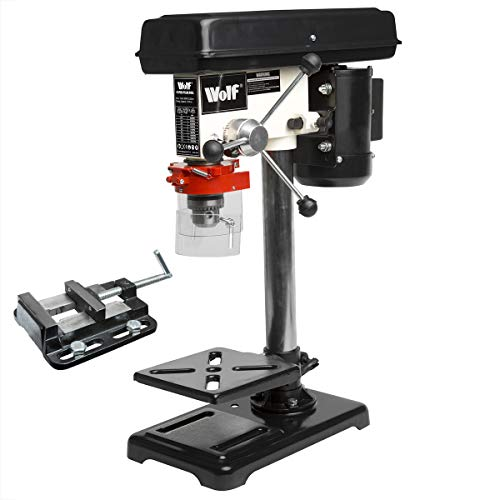 Wolf 9 Speed Bench Pillar Drill 16mm Chuck 500w Motor 2500rpm Top Mounted Press + 2.5' Steel Vice