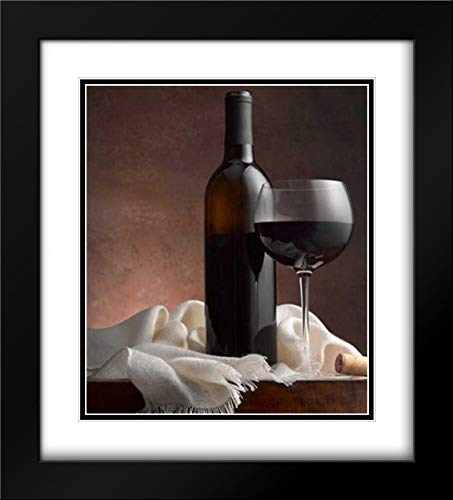 Seidman Barry 28x32 Black Modern Frame and Double Matted Museum Art Print Titled Red Wine and Cork
