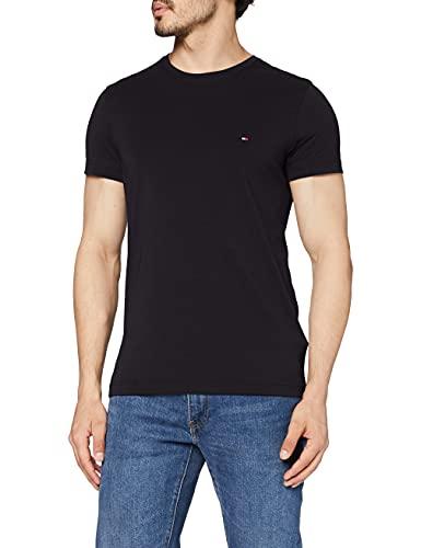 Tommy Hilfiger Core Stretch Slim Cneck tee Camiseta, Negro (Flag Black 083), M para Hombre