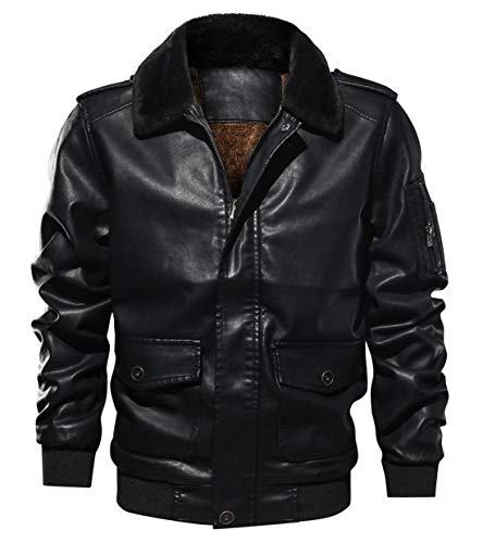 Itemnew Men Sportswear Full Zip Sherpa Lined Air-Force Faux Leather Bomber Jacket (Large, Black)