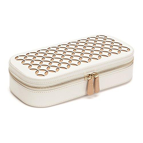 WOLF Chloé Zip Jewelry Case, 4.5x9.25x2.25, Cream
