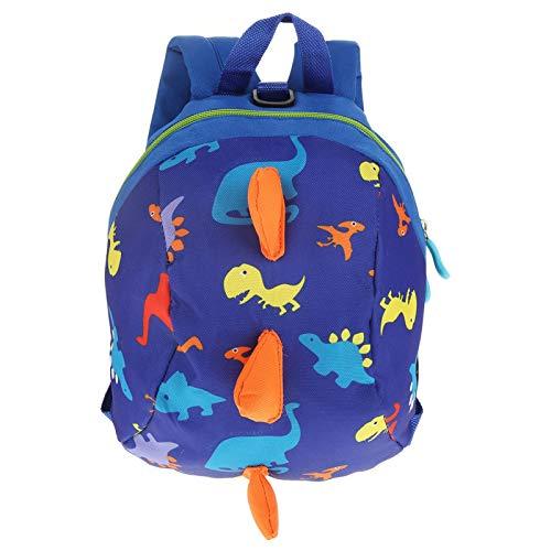 Mochila con arnés de seguridad para bebés, mochila con arnés de seguridad para bebés de dinosaurio de dibujos animados lindo, mochila antipérdida para niños pequeños(Azul oscuro)