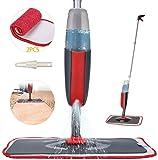 Fixget Balai Lave Sol avec Vaporise, Balais Serpillère, Spray Mop Microfibre, Vadrouille Plate avec 2 Tampons de Rechange pour le Carrelage et le Parquet Stratifié