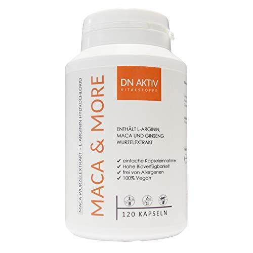 Maca Kapseln hochdosiert 5000 mg + Ginseng 1000mg + L-Arginin 120 Kapseln für 2 Monate, Pflanzliche Nahrungsergänzung ohne Zusätze
