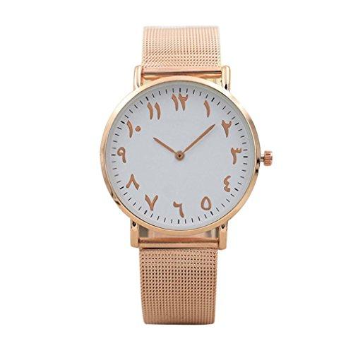 Zarupeng Altes arabische Digital-Zifferblatt-Mesh Armband Uhren Klassisch Edelstahl Uhr (One Size, Rose Gold)