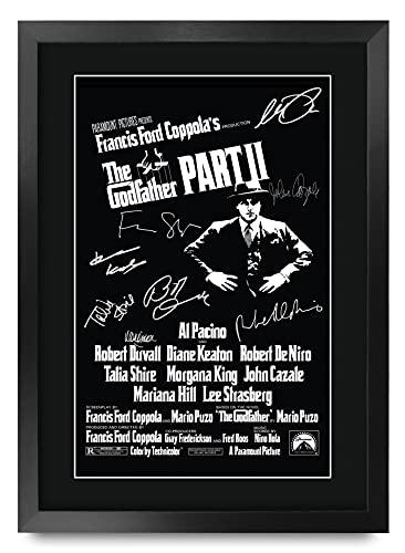 HWC Trading El Padrino 2 Die Cast Al Pacino, Robert De Niro Regalos Carteles Impresos Autógrafos La Imagen A Los Aficionados Recordaba De Películas - A3 Enmarcada