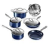 Granitestone Blue Cookware Sets Nonstick Pots and Pans Set– 10pc Kitchen Cookware Sets Cookware...