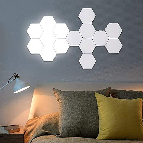 Luces de pared hexagonales, Mosaic Smart Sensitive Modular Modular Modular LED Luces de noche, 15 PC y 20 PCS opcionales, lámparas de pared modernas, decoración de la casa (Luz blanca)