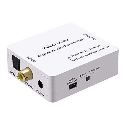 AMANKA Convertisseur Numérique Audio Optique (SPDIF) ou Coaxial vers Toslink et Coaxial Adaptateur Soutient LPCM 2.0 / DTS/Dolby-AC3 pour Système de Cinéma Maison, équipement Audio etc