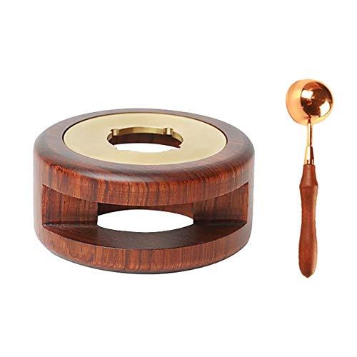 I3C Calentador de sellado de cera, herramienta de sellado para horno de cera con cuchara de fusión de madera maciza para derretir palos de cera o sellar cuentas de cera