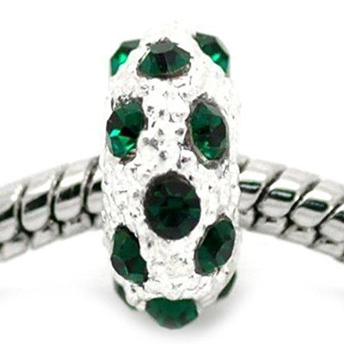 SEXY SPARKLES Abalorio espaciador para mujer con piedra natal de mayo, color verde
