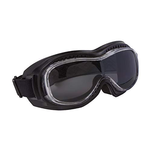 PiWear Motorradbrille Überbrille Schutzbrille Toronto, schwarz mit dunkel getöntem Glas